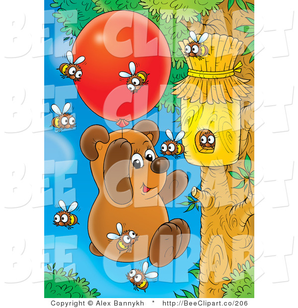 Clip Art of Bees Buzzing Around a Bear Floating Towards Their Hive with a Balloon