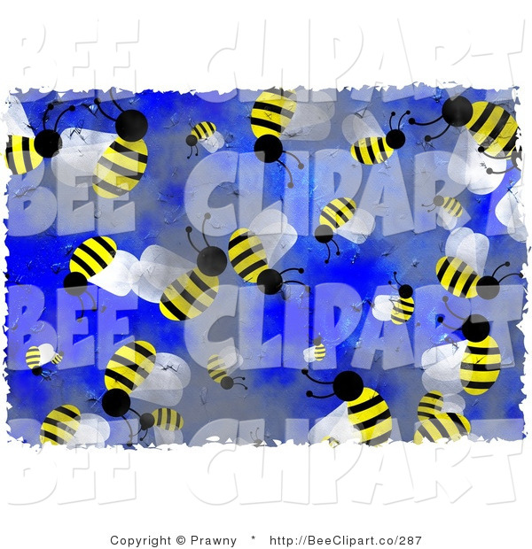 Clip Art of Busy Honey Bees on Blue