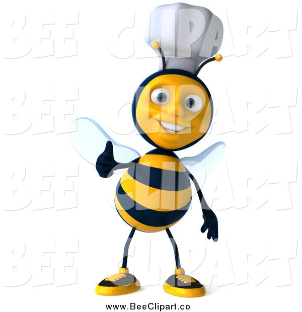 Vector Clip Art of a 3d Chef Bee Giving a Thumb up