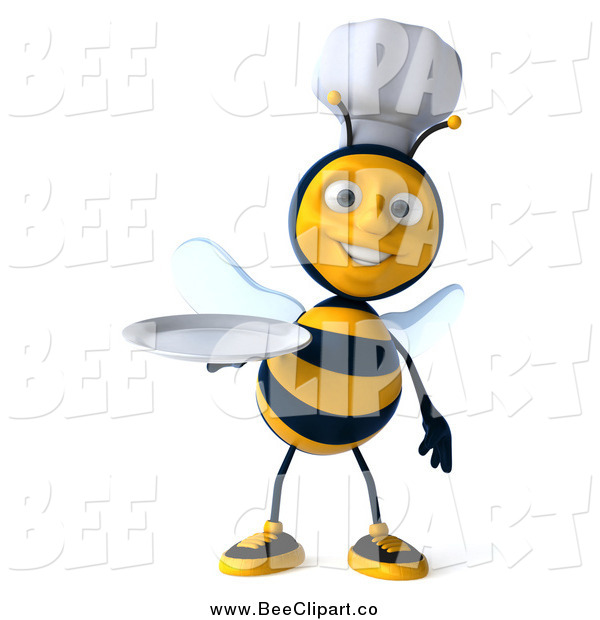 Vector Clip Art of a 3d Chef Bee Holding out a Plate