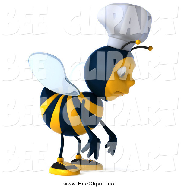 Vector Clip Art of a 3d Chef Bee Pouting and Facing Right