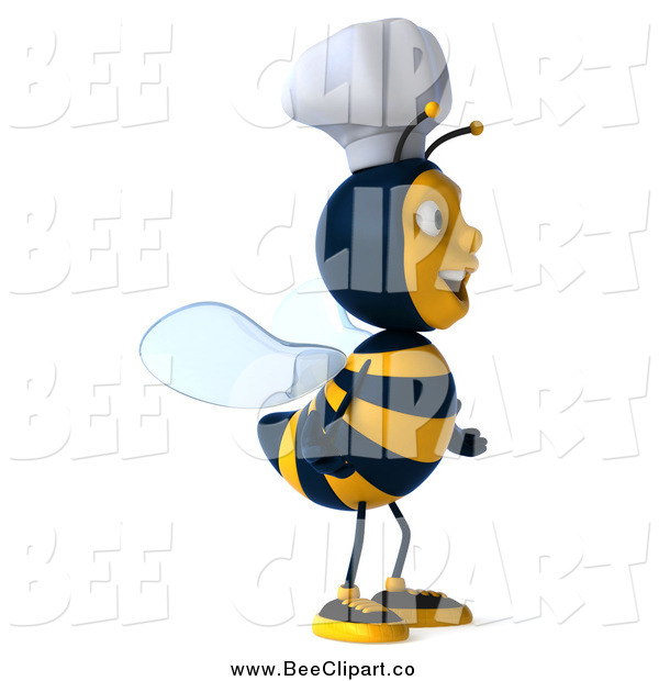 Vector Clip Art of a 3d Excited Chef Bee Facing Right