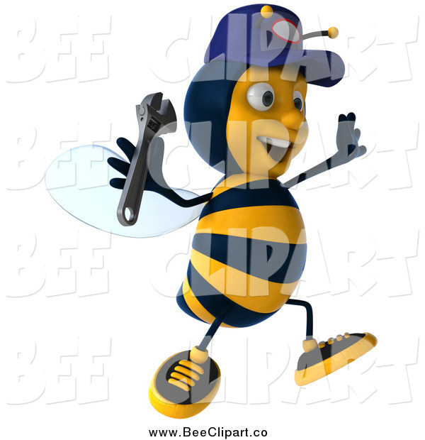 Vector Clip Art of a 3d Excited Mechanic Bee Jumping