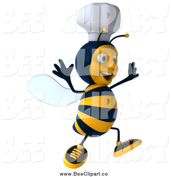 Vector Clip Art of a 3d Happy Chef Bee Jumping