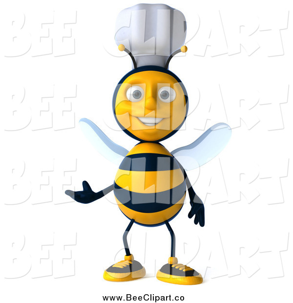 Vector Clip Art of a 3d Happy Chef Bee Presenting