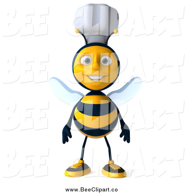 Vector Clip Art of a 3d Happy Chef Bee Standing