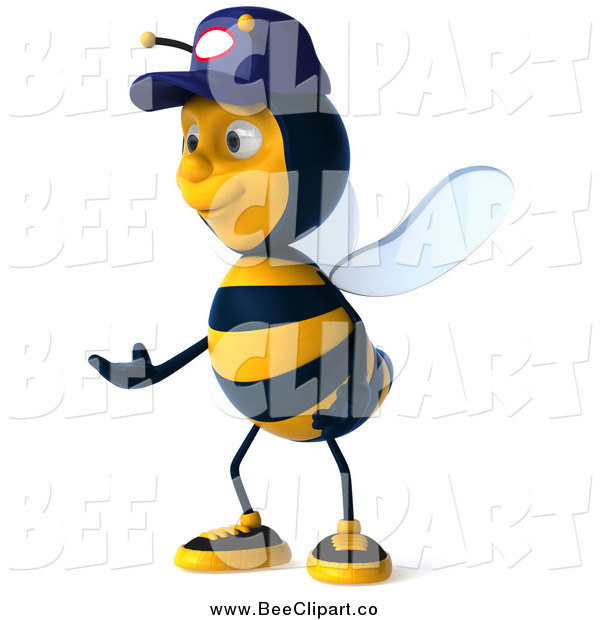 Vector Clip Art of a 3d Mechanic Bee Gesturing and Facing Left