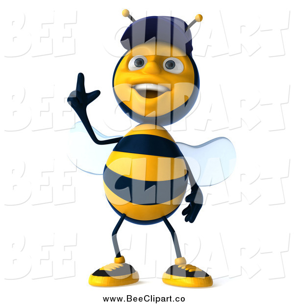 Vector Clip Art of a 3d Mechanic Bee Pointing Upwards3d Mechanic Bee Pointing Upwards