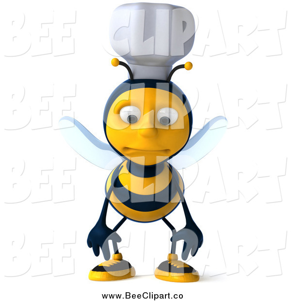 Vector Clip Art of a 3d Pouting Chef Bee