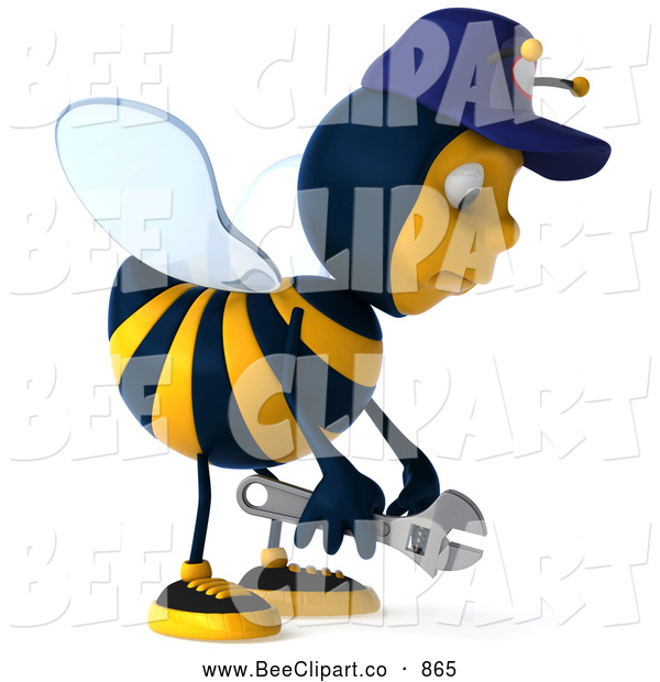 Vector Clip Art of a 3d Pouting Mechanic Bee