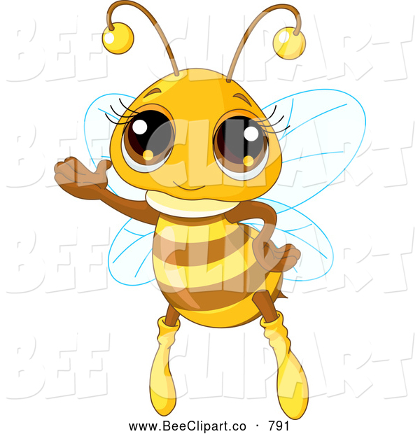 Vector Clip Art of a Adorable Girl Honey Bee Waving While Flying