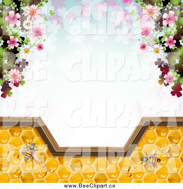 Vector Clip Art of a Background of Blossoms and Bees on Honey over Clovers