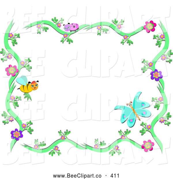 Vector Clip Art of a Bee and Butterfly Floral Frame on White