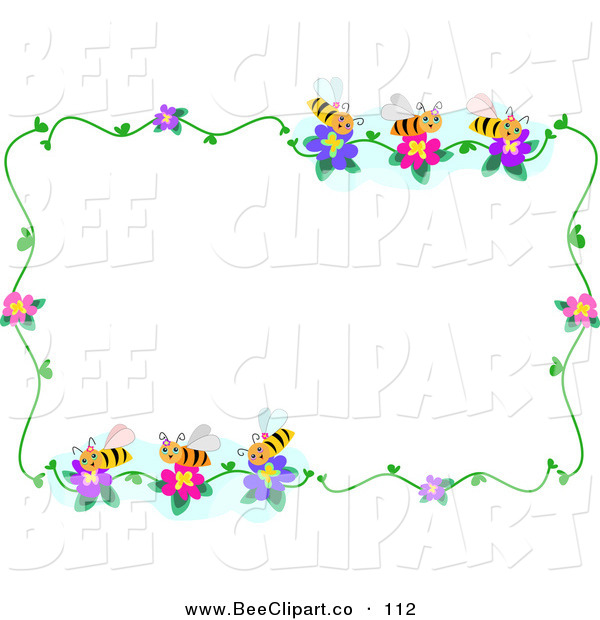 Vector Clip Art of a Bee and Flower Border Frame on White