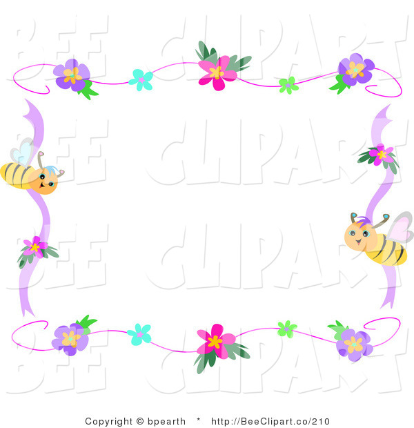 Vector Clip Art of a Bee and Hibiscus Frame