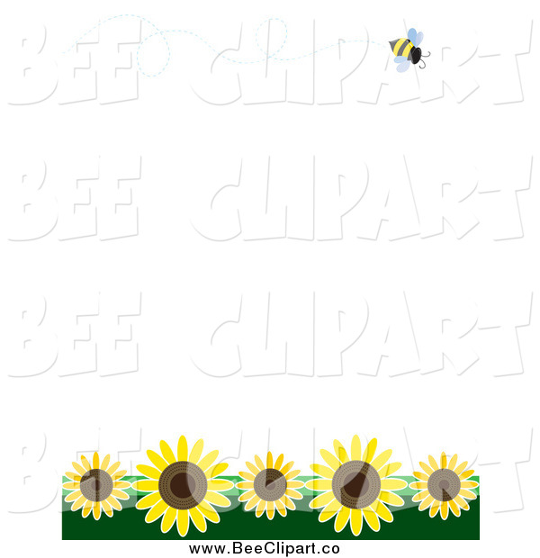Vector Clip Art of a Bee Flying over Sunflowers on White