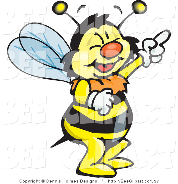 Vector Clip Art of a Bee Laughing and Pointing
