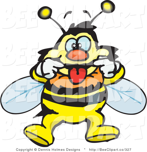 Vector Clip Art of a Bee Making a Funny Face
