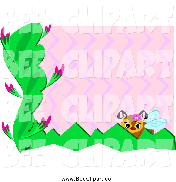 Vector Clip Art of a Bee with Plants, Pink Zig Zags and White Edges