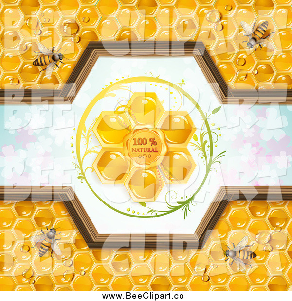 Vector Clip Art of a Bees and Honeycomb Natural Label over Clovers