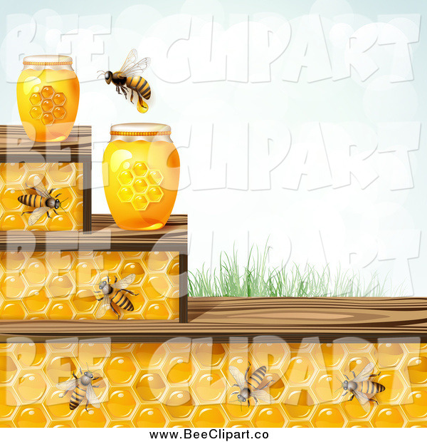 Vector Clip Art of a Bees and Honeycomb Steps with Jars Grass and Sky