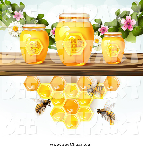 Vector Clip Art of a Bees and Honeycombs at a Shelf with Jars and Blossoms
