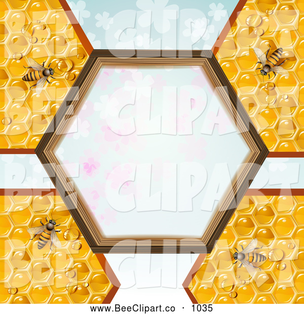 Vector Clip Art of a Bees and Honeycombs with a Hexagon Frame over Clovers