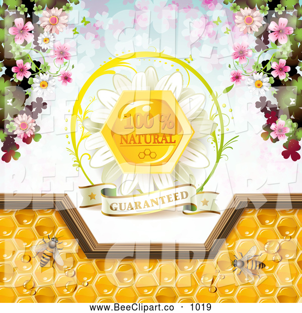 Vector Clip Art of a Bees and Honeycombs with a Natural Label