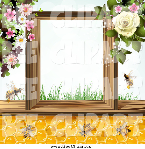Vector Clip Art of a Bees and Honeycombs with Flowers and Text Space
