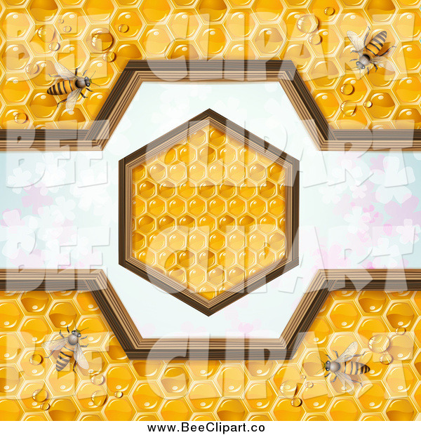 Vector Clip Art of a Bees on Honeycombs with a Hexagon Design over Clovers