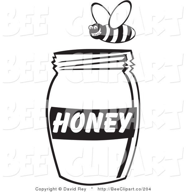 Vector Clip Art of a Black and White Bee Flying Above a Jar of Honey