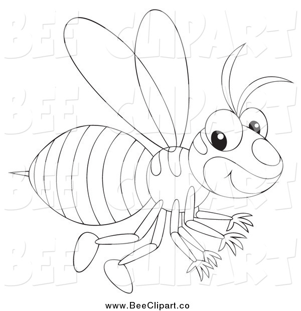 Vector Clip Art of a Black and White Happy Wasp Flying