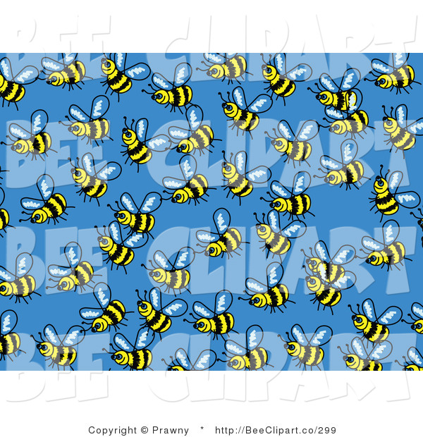 Vector Clip Art of a Blue Background of Busy Honey Bees Buzzing Around