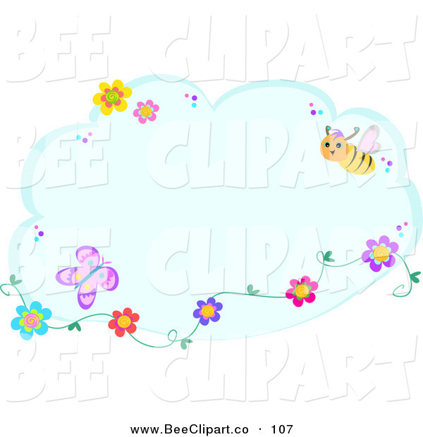 Vector Clip Art of a Blue Cloud with Flowers, Butterflies and a BeeBlue Cloud with Flowers, Butterflies and a Bee