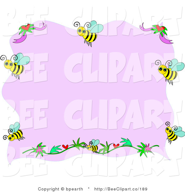 Vector Clip Art of a Border of Bees and Flowers with Pink Copyspace