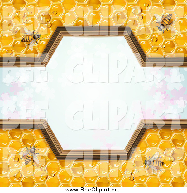 Vector Clip Art of a Border of Bees on Honey Combs over Clovers