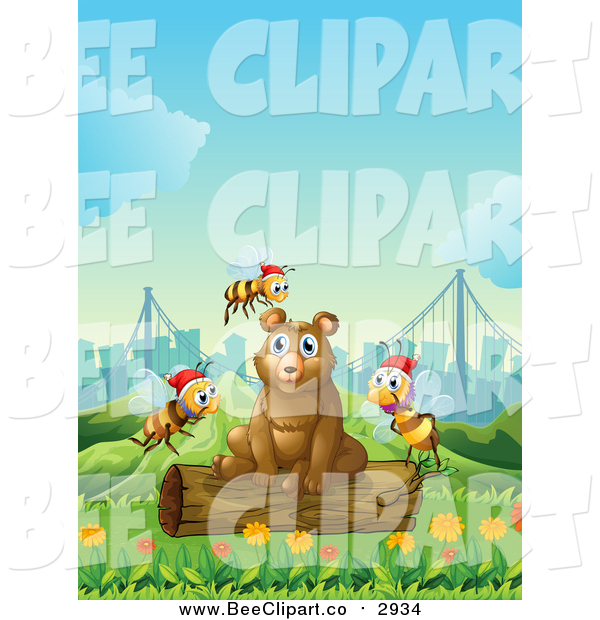 Vector Clip Art of a Brown Bear Sitting on a Log in a Park, with Christmas Bees and a City in the Background