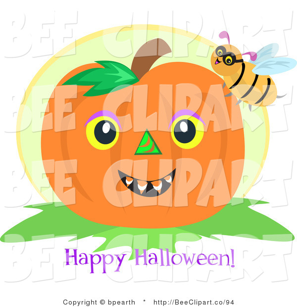 Vector Clip Art of a Bumble Bee on a Pumpkin with a Happy Halloween Greeting