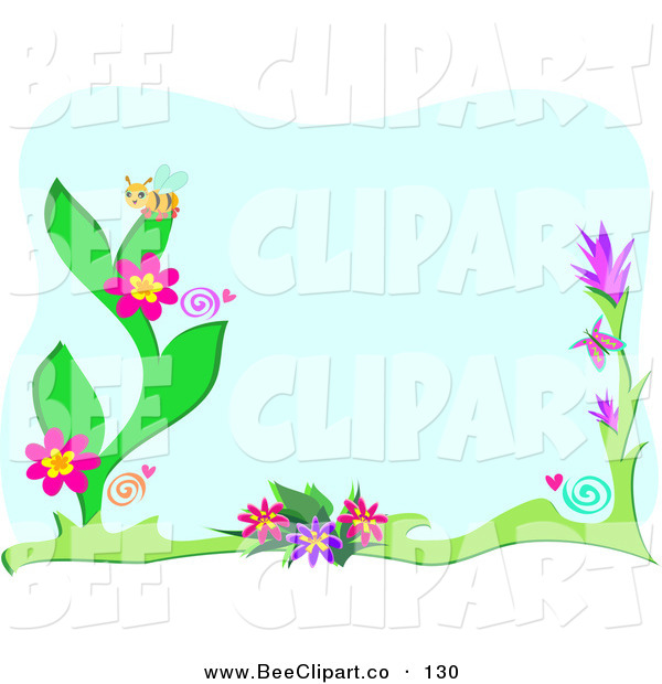 Vector Clip Art of a Bumble Bee on Flowers over Blue, with a White Border