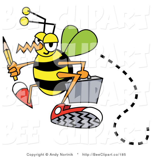 Vector Clip Art of a Busy Bee Carrying a Yellow Pencil and Gray Briefcase While Flying to Work