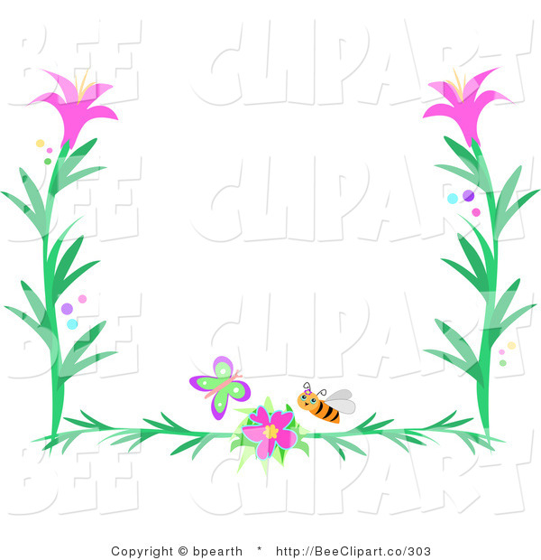 Vector Clip Art of a Butterfly, Bee and Pink Flower Border