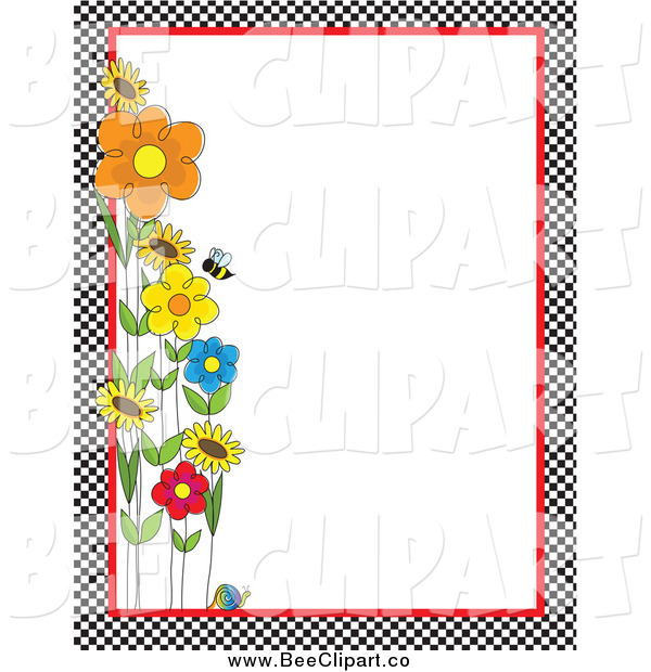 Vector Clip Art of a Checkered Border of Bees and Flowers