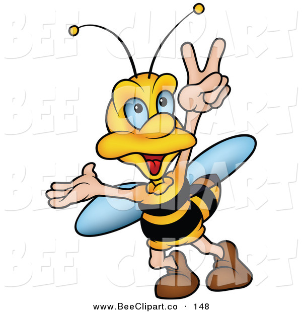 Vector Clip Art of a Cheerful Bumble Bee Walking and Gesturing with His Hand