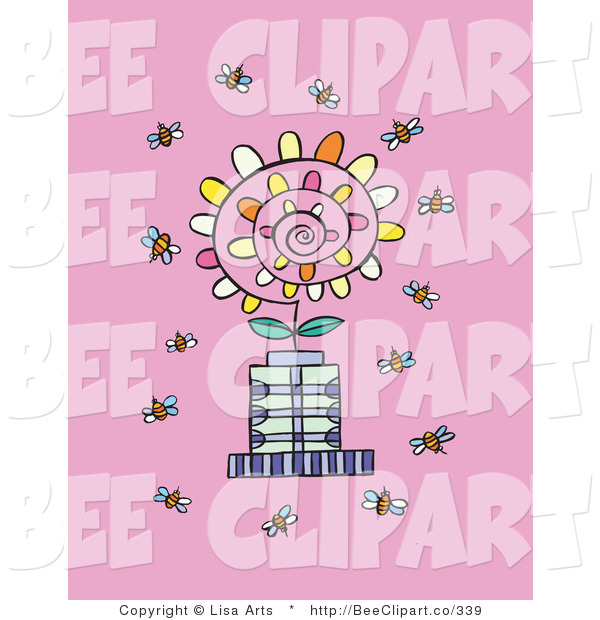 Vector Clip Art of a Crowd of Busy Bee Insectss Flying Around a Spiraling Flower on a Pink Background