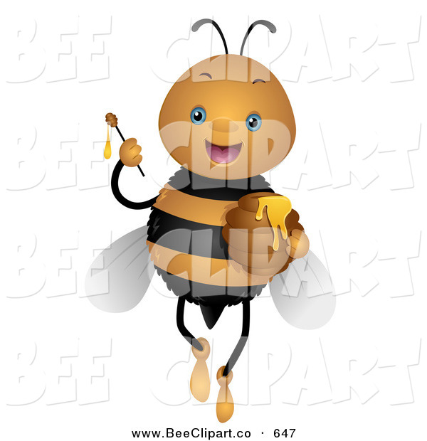 Vector Clip Art of a Cute Bee Holding up a Honey Wand on White