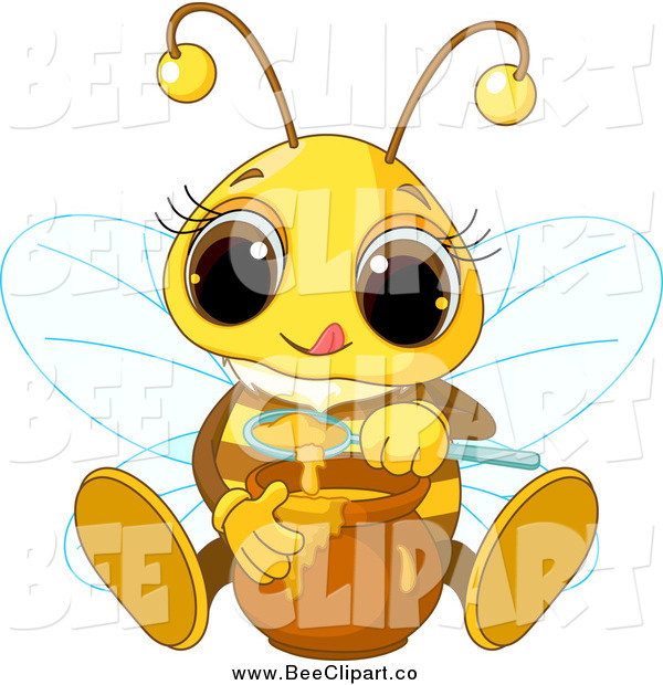 Vector Clip Art of a Cute Bee Sitting and Tasting Honey