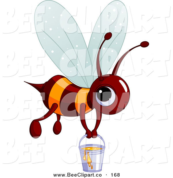 Vector Clip Art of a Cute Brown and Orange BumbleBee Carrying a Pail of Honey