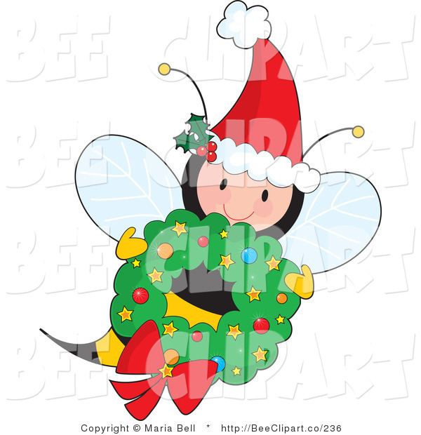 Vector Clip Art of a Cute Female Fairy Honey Bee Wearing a Santa Hat with Ivy and Flying with a Christmas Wreath