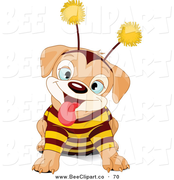 Vector Clip Art of a Cute Puppy Dog Wearing a Bee Costume