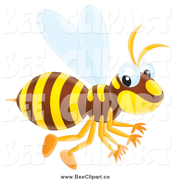 Vector Clip Art of a Cute Wasp Flying